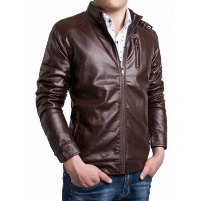 Гаджет   Fashion Stand Collar Solid Color Pocket Design Fitted Long Sleeve PU Leather Jacket For Men Jackets & Coats