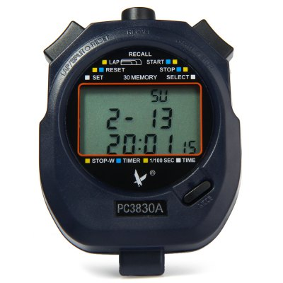 Фотография PC3830A Portable Handheld LCD Digital Chronograph Timer Sports Stopwatch Counter with 3 Row 30 Memories