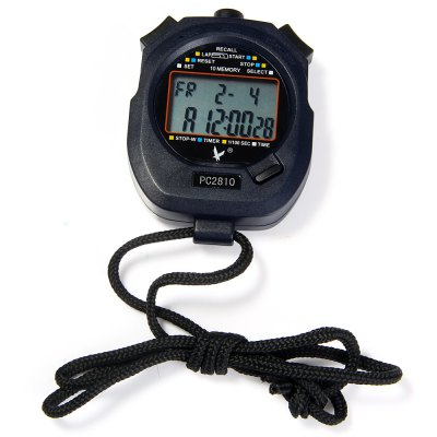 PC2810 Portable Handheld LCD Digital Chronograph Timer Sports Stopwatch Counter with 2 Rows 10 Memories