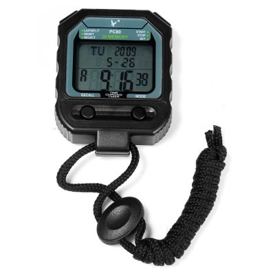 PC80 Portable Handheld LCD Digital Chronograph Timer Sports Stopwatch Counter with 3 Rows 30 Memories