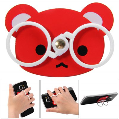 Bear Glasses Finger Ring Grip Holder Stand for Mobile Phones Tablets