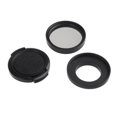 Pro 37mm CPL Circular Polarizer Lens Kit with Filter Adapter Protective Cap for Gopro Hero 3 3+