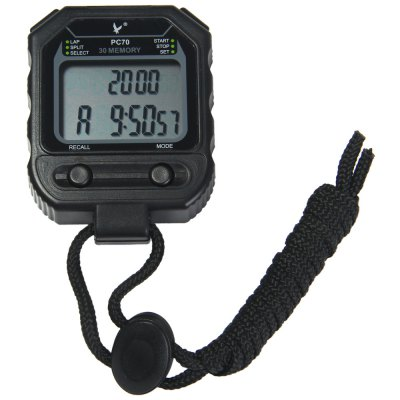 PC70 2 Rows 30 Memories LCD Digital Stopwatch with Calendar Alarm Function