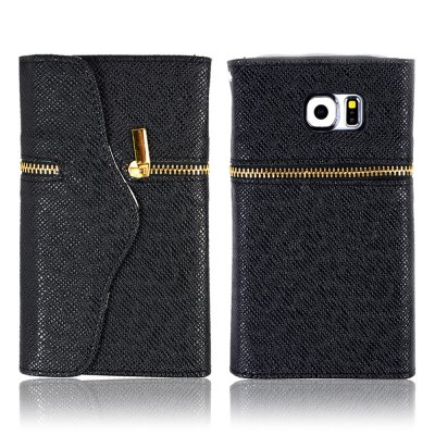 PU Leather Cover Case Zipper Wallet Card Holder for Samsung Galaxy S6 Edge