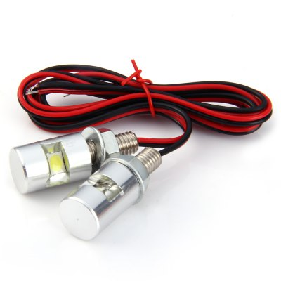 2pcs 12V Car Motorcycle License Plate Screw Bolt Light - White Light