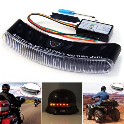 12V 8 LEDs Wireless Motorcycle Helmet LED Brake Turning Signal Light with Transmitter
