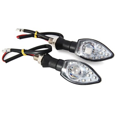 Motorcycle Turn Signal Indicator Light 12V 13 LEDs 1W Motorbike Spot Lamp Blinker Flasher - 2Pcs