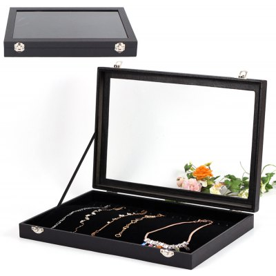 Elegant Jewelry Storage Box 20 Hooks Necklace Display Case Organizer