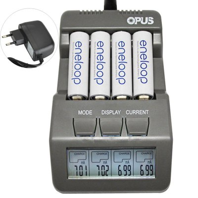Opus BT - C700 Four Slots Digital NiCd NiMH Battery Charger with LCD - EU Plug