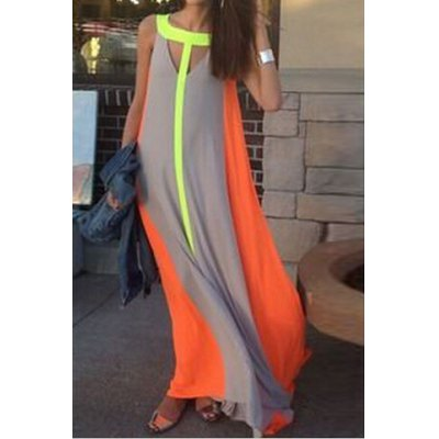 Fashionable Scoop Neck Color Block Hollow Out Sleeveless Maxi Dress For WomenWomens Dresses<br>Fashionable Scoop Neck Color Block Hollow Out Sleeveless Maxi Dress For Women<br><br>Style: Bohemian<br>Material: Polyester<br>Silhouette: Straight<br>Dresses Length: Floor-Length<br>Neckline: Scoop Neck<br>Sleeve Length: Sleeveless<br>Pattern Type: Patchwork<br>With Belt: No<br>Season: Summer<br>Weight: 0.200KG<br>Package Contents: 1 x Maxi Dress