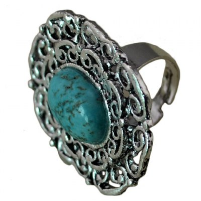 Retro Turquoise Inlaid Ring For Women