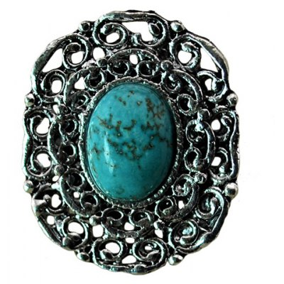 Retro Chic Turquoise Inlaid Ring For Women
