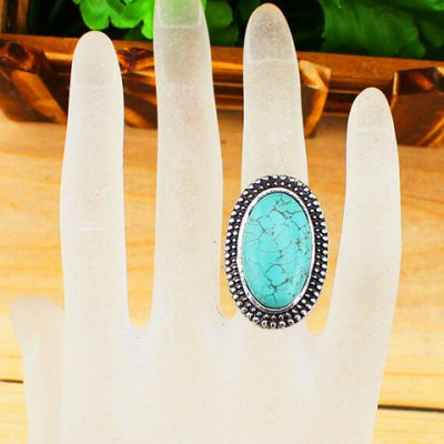 Retro Chic Turquoise Ellipse Ring For Women