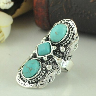 Ethnic Retro Turquoise Decorated Ring For Women