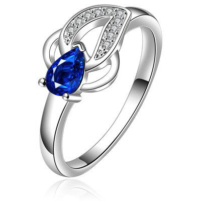Simple Design Spliced Embellished Rhinestone Hollow Out Women's Ring