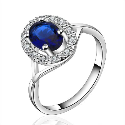 Classic Round Rhiestone Embellished Glitter Ring For Women