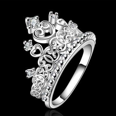 Classic Crown Rhinestone Glitter Womens RingRings<br>Classic Crown Rhinestone Glitter Womens Ring<br><br>Gender: For Women<br>Metal Type: Silver Plated<br>Style: Classic<br>Shape/Pattern: Crown<br>Weight: 0.060KG<br>Package Contents: 1 x Ring