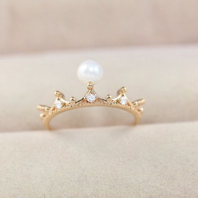 Classic Faux Pearl Decorated Crown Shape Ring For Women