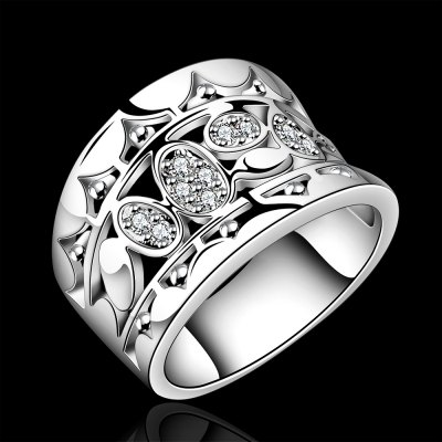 Classic Rhinestone Glitter Hollow Out Ring For Women