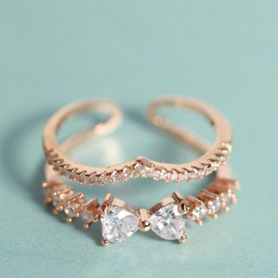 Fresh Style Rhinestone Embellished Bowknot Shape Double-Layered Cuff Ring For WomenRings<br>Fresh Style Rhinestone Embellished Bowknot Shape Double-Layered Cuff Ring For Women<br><br>Gender: For Women<br>Material: Rhinestone<br>Metal Type: Alloy<br>Style: Trendy<br>Shape/Pattern: Bows<br>Weight: 0.06KG<br>Package Contents: 1 x Ring
