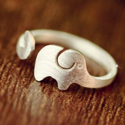 Delicate Solid Color Elephant Shape Cuff Ring For Women