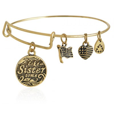 Classic English Word Carved Heart Pendant Bracelet For Women