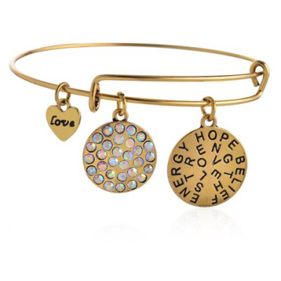 Cute Letter Rhinestone Pendant Bracelet For Women
