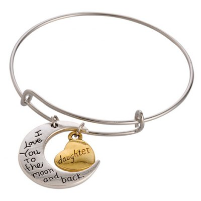 Moon English Letter Pendant Bracelet