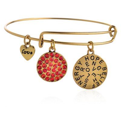 Fashion Rhinestone Inlaid Round Letter Bracelet For Women