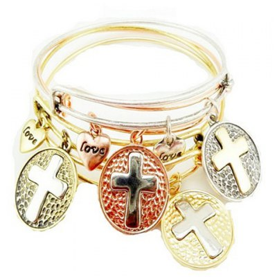 ONE PIECE Retro Heart Cross Pattern Bracelet