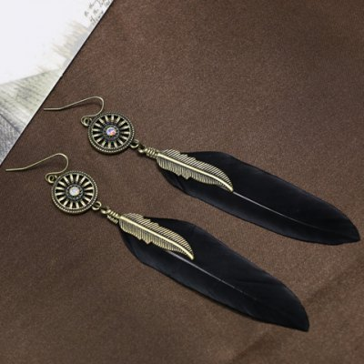 Pair of Chic Leaf Feather Pendant Earrings For Women