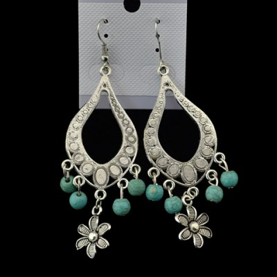 Pair of Chic Turquoise Floral Earrings For Women
