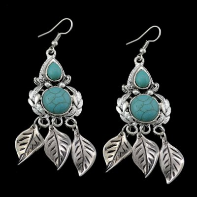 Pair of Retro Turquoise Leaf Earrings For Women