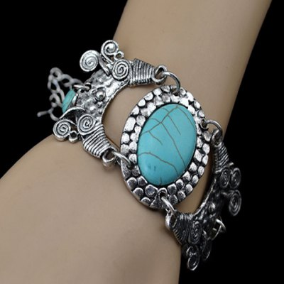 Bohemian Retro Style Turquoise Decorated Oval and Floral Shape Bracelet For WomenBracelets &amp; Bangles<br>Bohemian Retro Style Turquoise Decorated Oval and Floral Shape Bracelet For Women<br><br>Item Type: Chain &amp; Link Bracelet<br>Gender: For Women<br>Chain Type: Link Chain<br>Style: Classic<br>Shape/Pattern: Geometric<br>Length: 23CM<br>Weight: 0.090KG<br>Package Contents: 1 x Bracelet