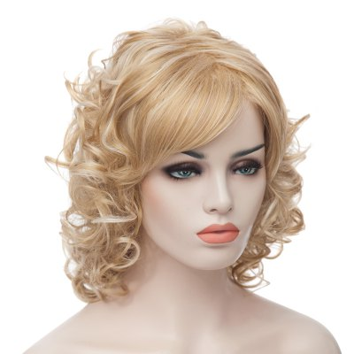 Fashion Fluffy Charming Medium Curly Light Blonde Synthetic Capless Wig For Women
