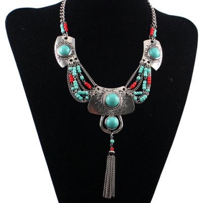Ethnic Turquoise Tassel Necklace For Women