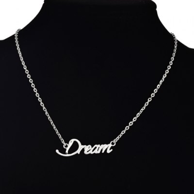 Classic English Word Solid Color Pendant Necklace For Women