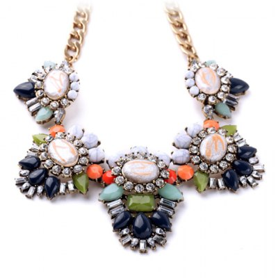 Luxurious Sweet Rhinestone Floral Necklace For Women