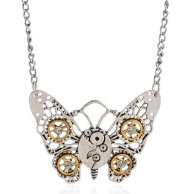 Butterfly Gear Pendant Necklace