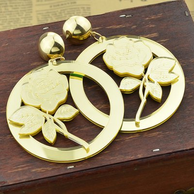Pair of Exquisite Rose and Hollow Our Round Shape Earrings For Women