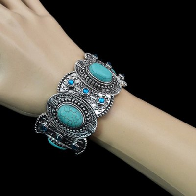 Classic Turquoise Decorated Oval Shape Bracelet For Women