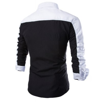 Fashion Shirt Collar Fitted Three Color Splicing Long Sleeve Polyester Shirt For Men