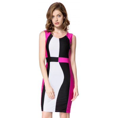 Color Block Sleeveless Scoop Neck Packet Buttock Trendy Dress