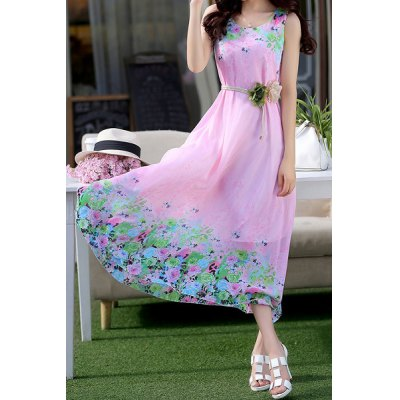 Fashionable Scoop Neck Sleeveless Floral Print Chiffon Women's Dress