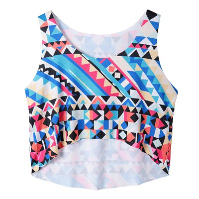 Fashionable Scoop Neck Geometric Loose-Fitting Crop Top For Women