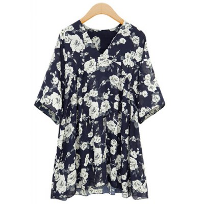 Stylish V-Neck Full Floral Print Short Sleeve Chiffon Dress For Women