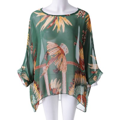 Batwing Sleeves Scoop Neck Feather Print Plus Size Casual Women's T-Shirt