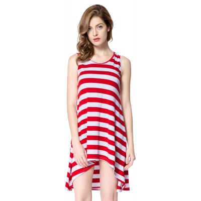 Scoop Neck Sleeveless Striped Loose-Fitting Dress
