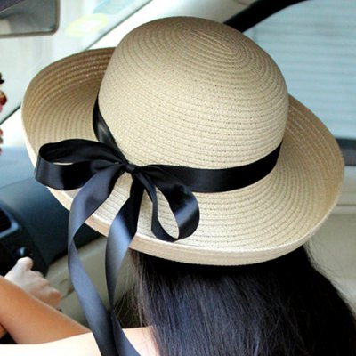 Ribbon Embellished Solid Color Flanging Straw Hat For Women