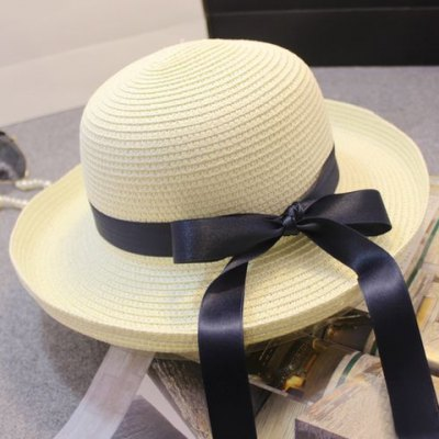 Chic Ribbon Embellished Solid Color Flanging Straw Hat For Women